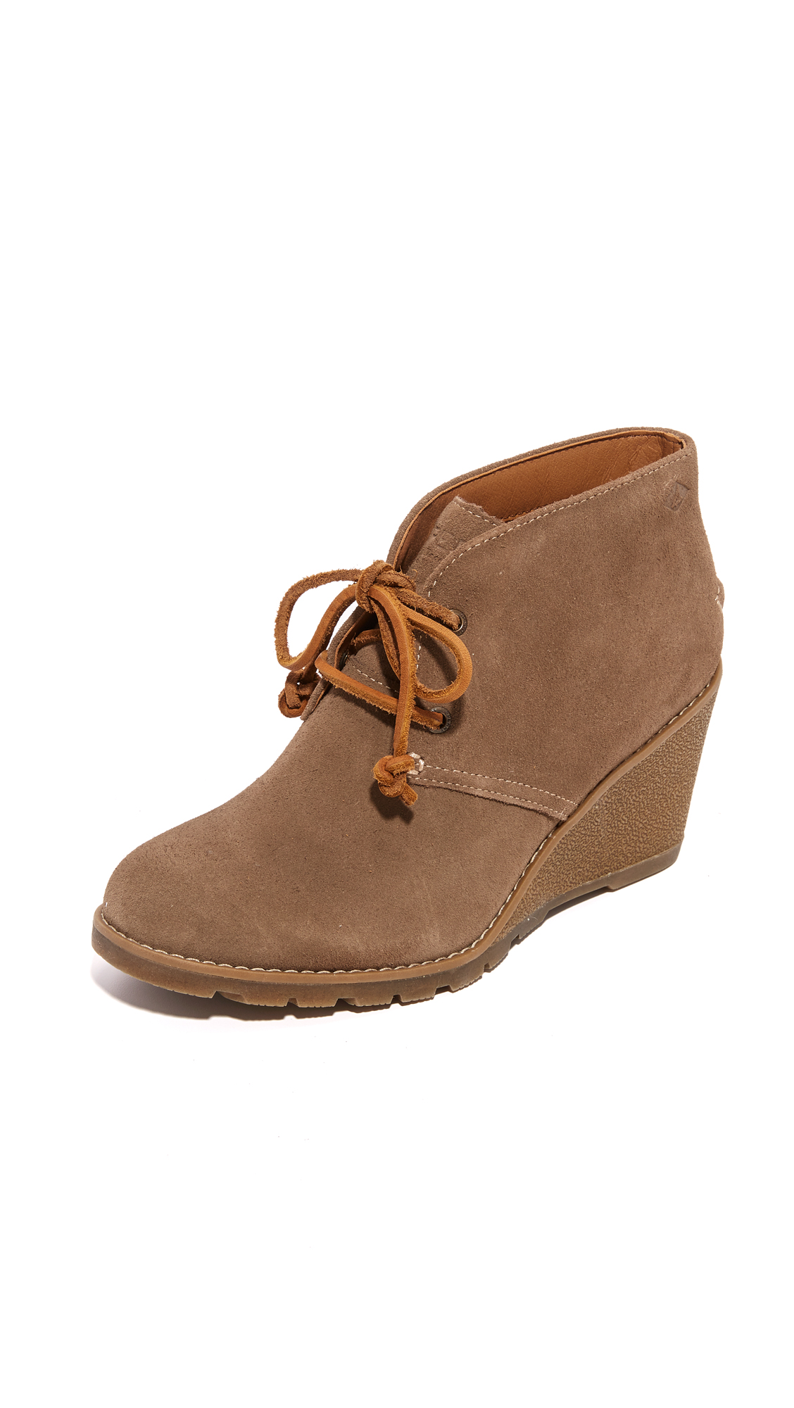 Sperry Stella Prow Wedge Lace Up Booties - Taupe