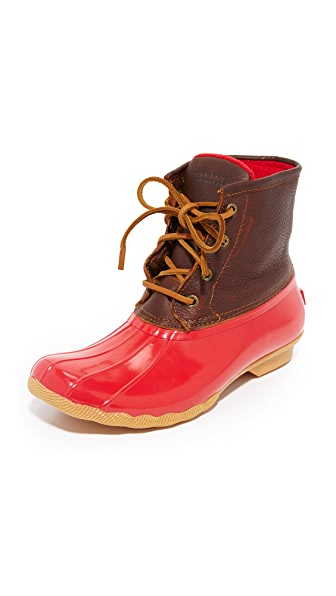Sperry Saltwater Core Booties - Tan/Red