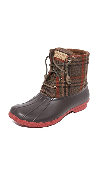 Sperry Saltwater Prints Booties - Brown/Wool Plaid