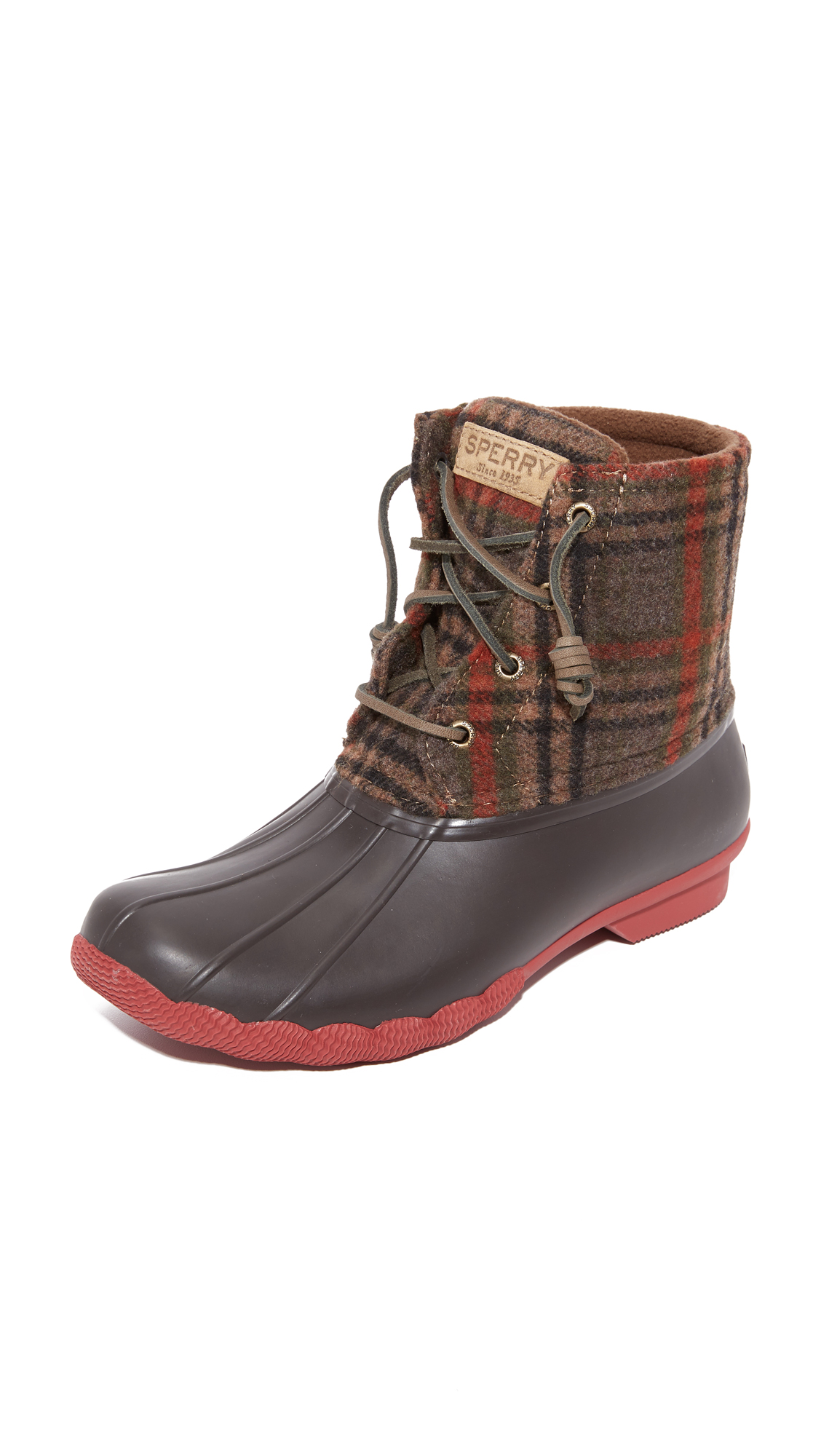 sperry female sperry saltwater prints booties brownwool plaid