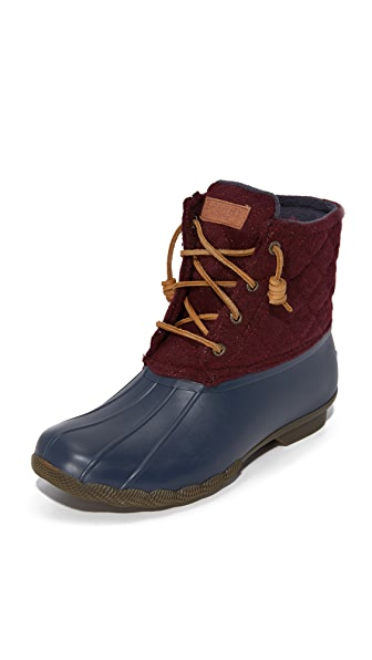 Sperry Saltwater Quilted Wool Booties - Navy/Maroon