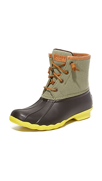 Sperry Saltwater Booties - Brown/Olive