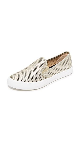 Sperry Seaside Perforated Slip On Sneakers - Gold