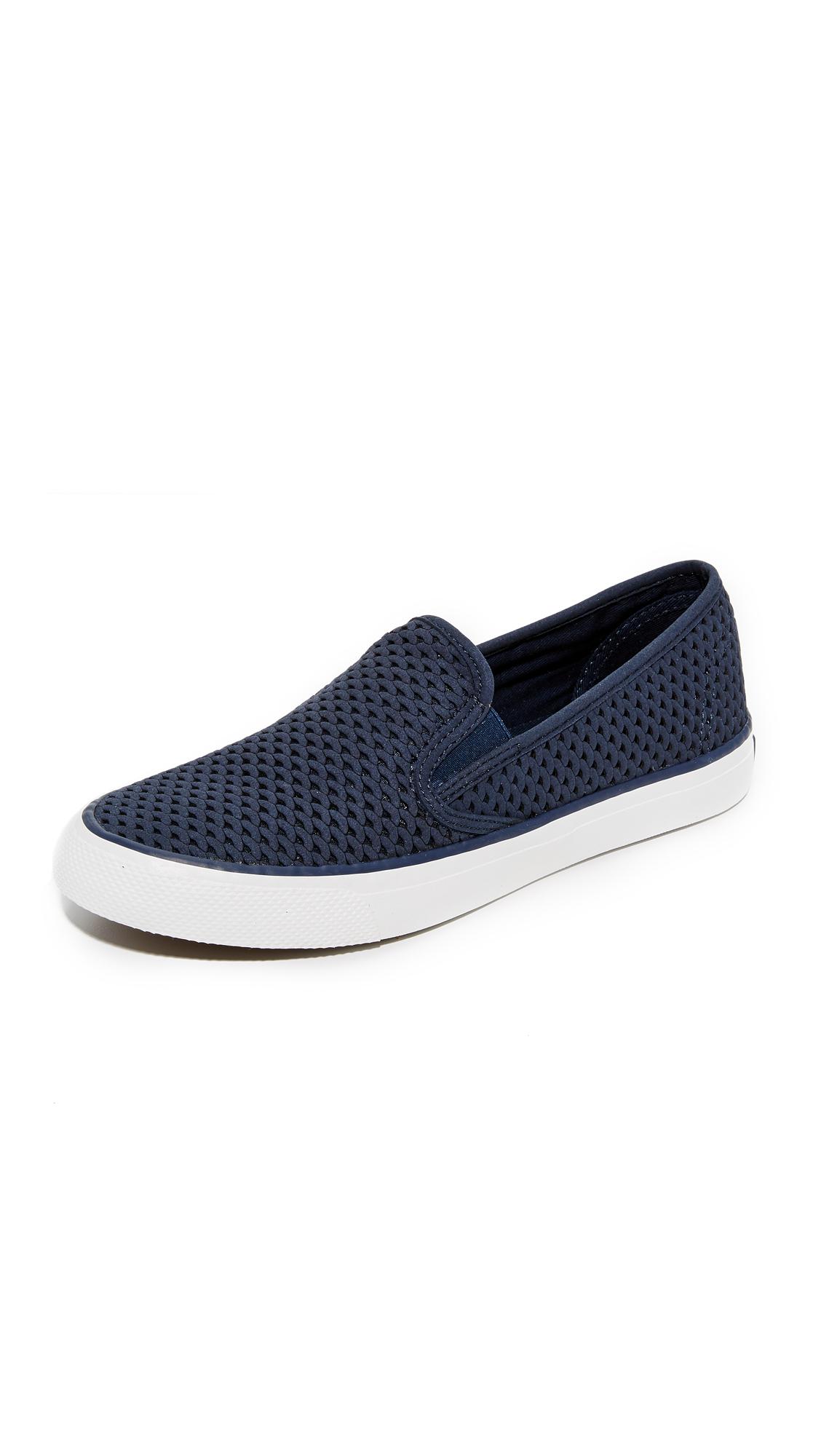 Sperry Seaside Perforated Slip On Sneakers - Navy