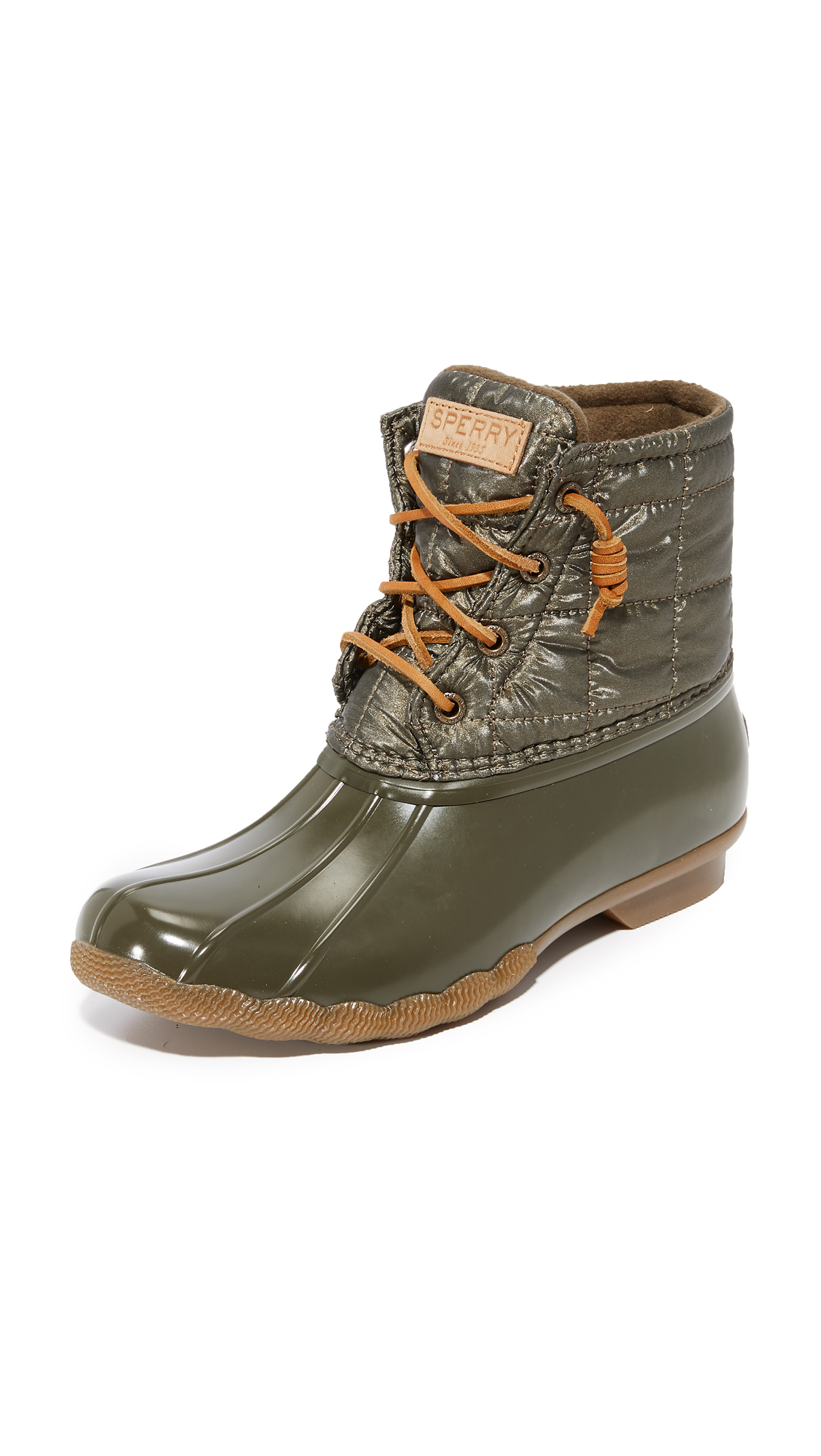 Sperry Saltwater Shiny Quilted Booties - Dark Olive