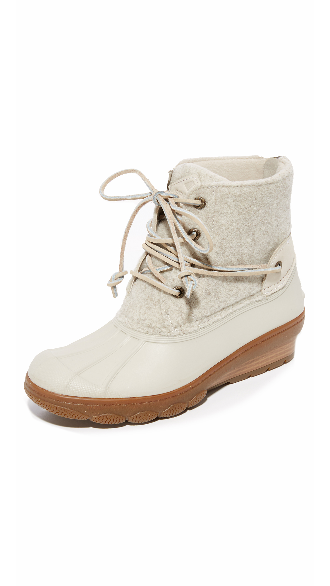Sperry Saltwater Wedge Tide Wool Booties - Ivory