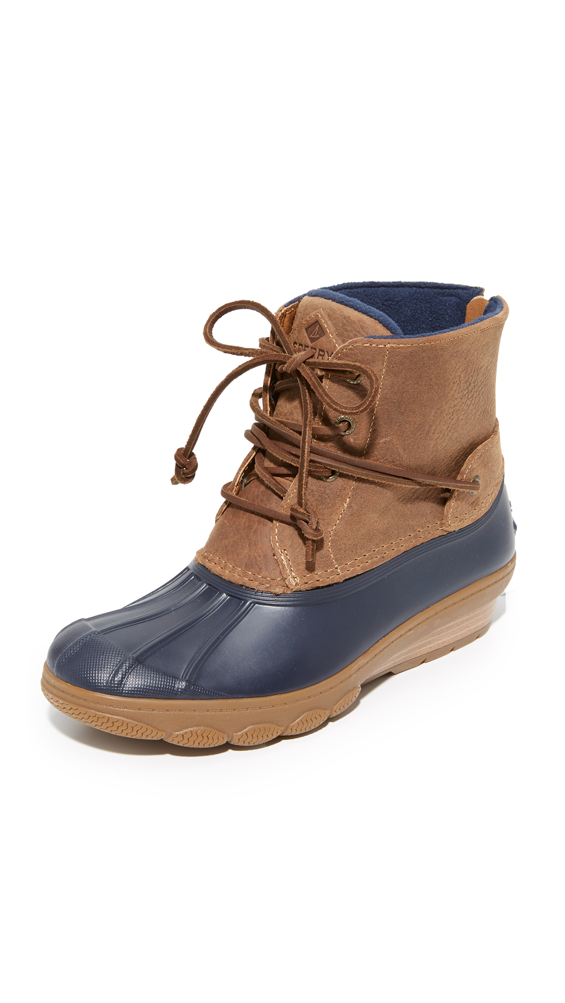 Sperry Saltwater Wedge Tide Booties - Navy/Tan