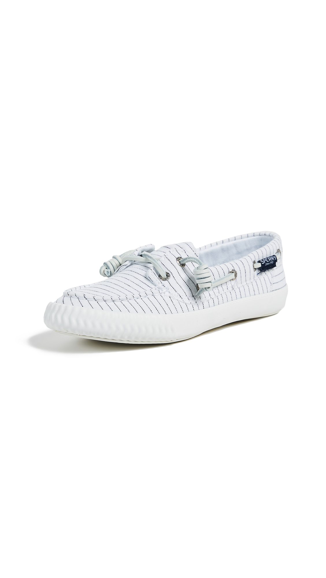 Sperry Sayel Away Pinstripe Boat Shoes - White/Black