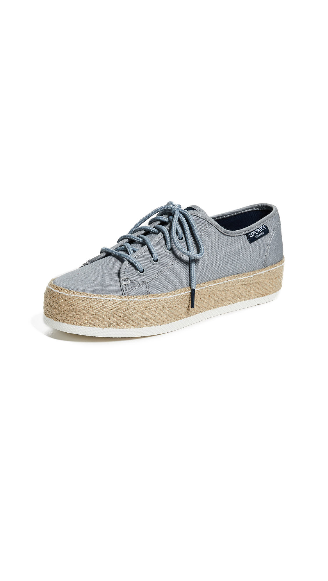 Sperry Sky Sail Jute Wrap Platform Sneakers - Grey
