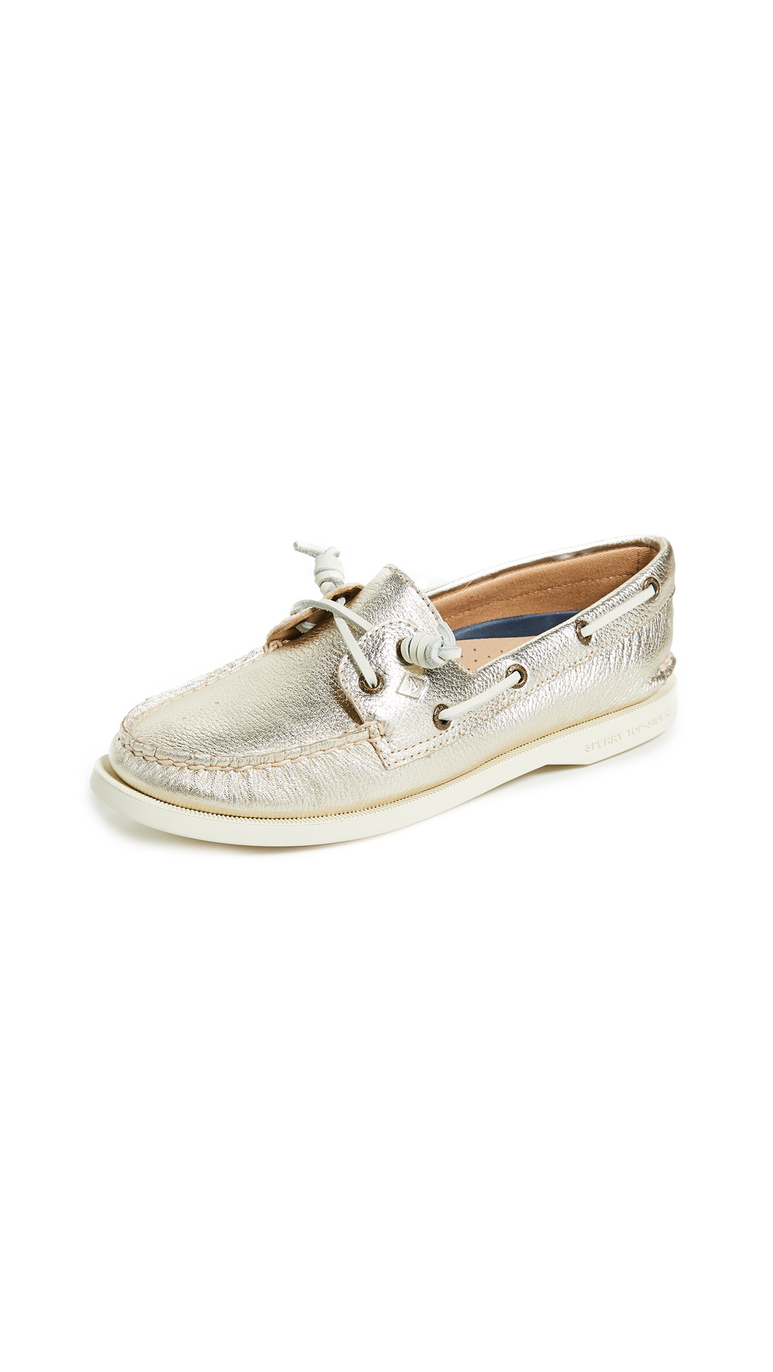 Sperry A/O Vida Metallic Boat Shoes - Platinum