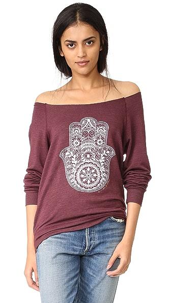 Spiritual Gangster Пуловер Henna с открытыми плечами и изображением хамсы