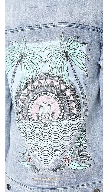 Spiritual Gangster Hamsa Tropical Palm Denim Jacket