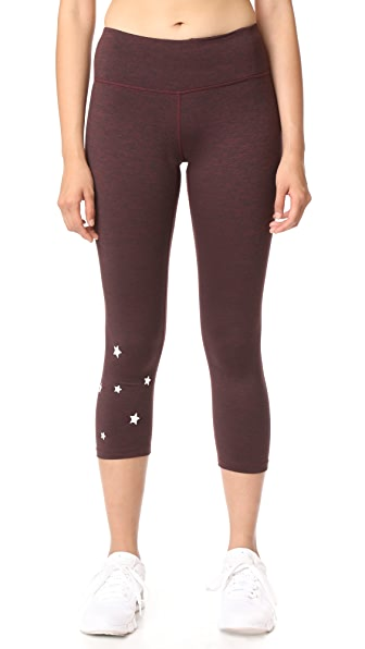Spiritual Gangster Stars Power Crop Leggings - Burgundy