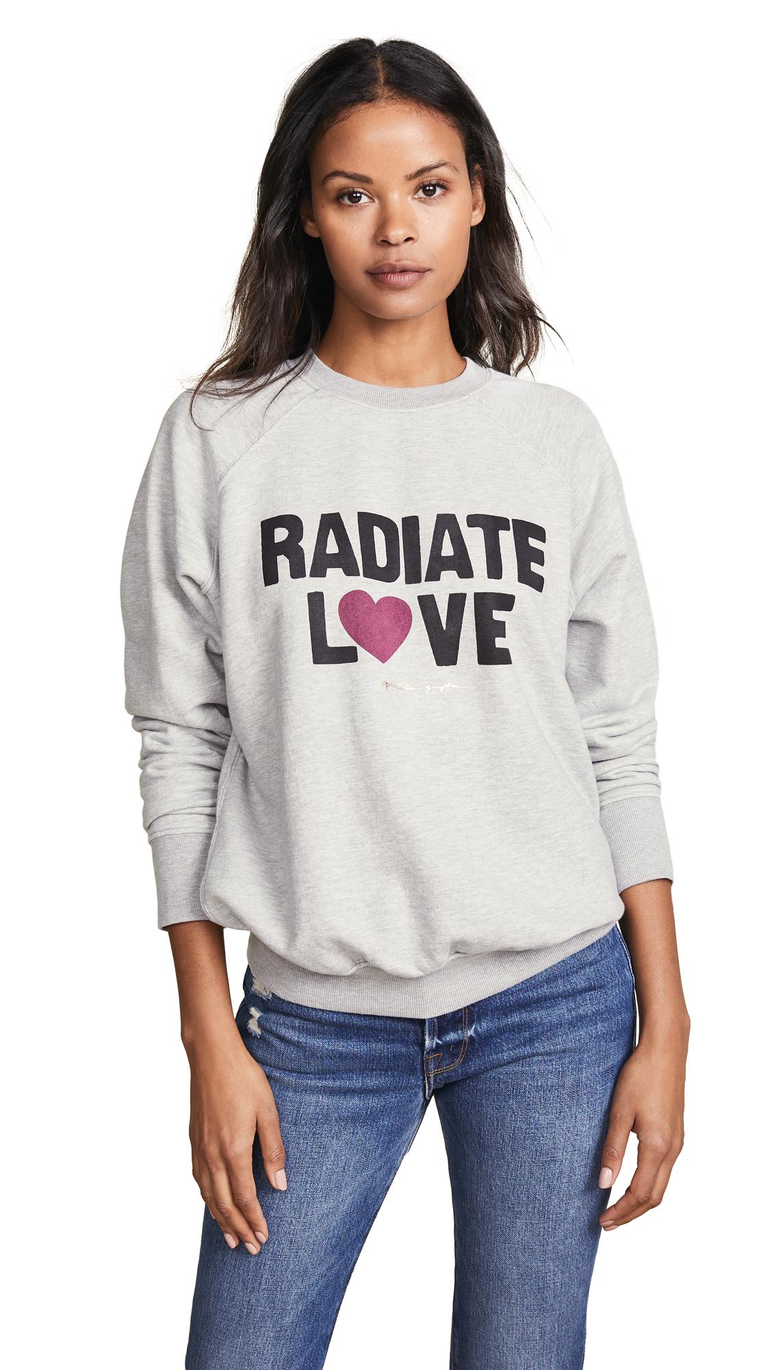 Spiritual Gangster Rad Love Classic Crew Sweatshirt In Medium Heather Grey