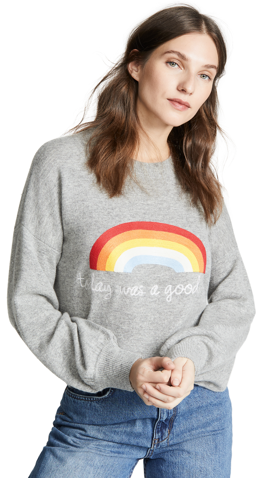 SPIRITUAL GANGSTER Today Rainbow Block Party Sweatshirt in Medium Heather Grey