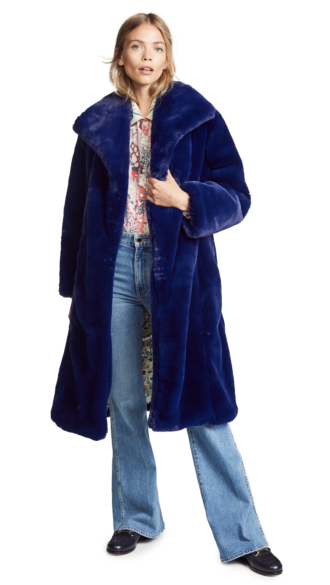SAMANTHA PLEET Sovereign Faux Fur Coat in Sapphire