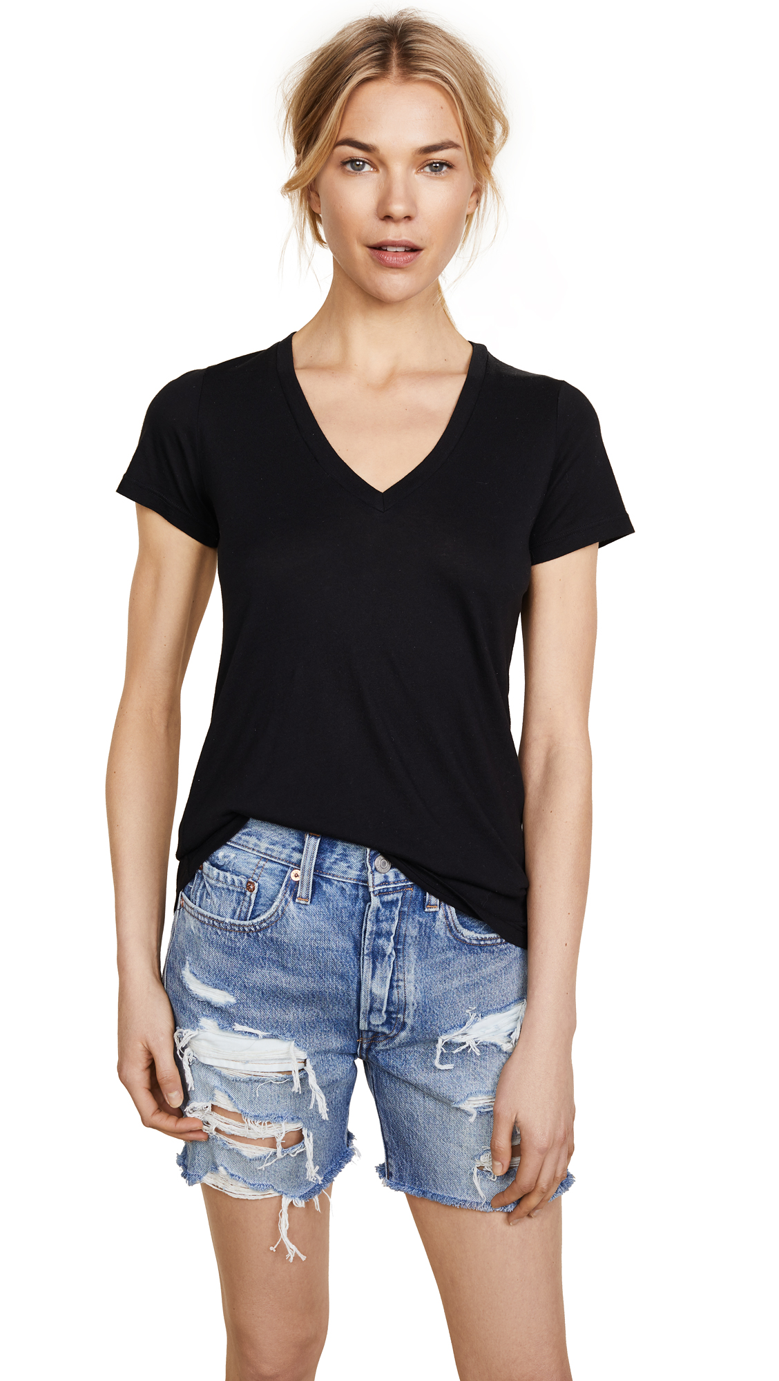 Splendid Very Light Jersey V Neck Tee - Black