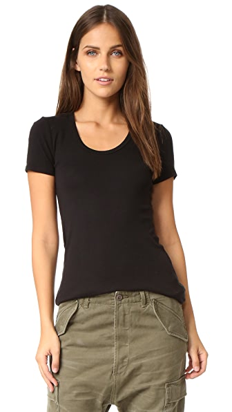Splendid 1x1 Scoop Tee - Black