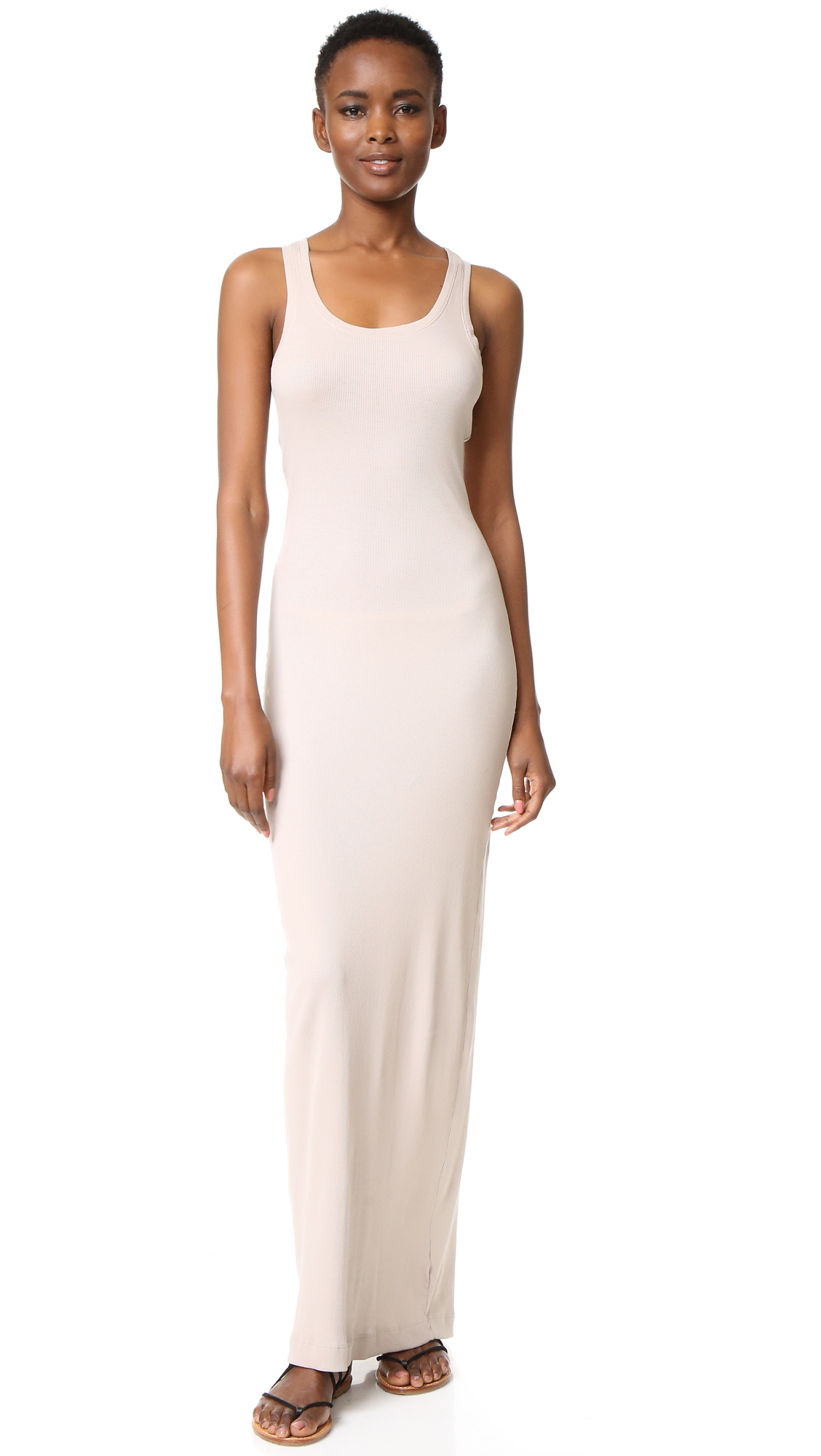 Splendid Ribbed Maxi Dress - Almond