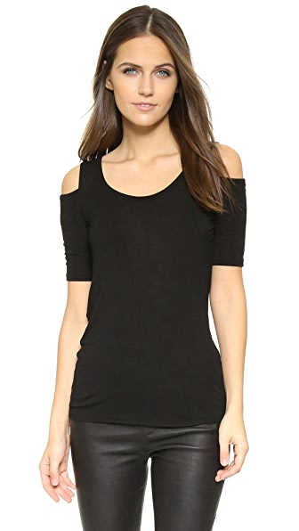 Splendid Drapey Lux Cold Shoulder Top - Black