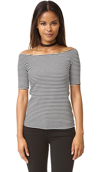 Splendid Striped Off Shoulder Top - Black/White