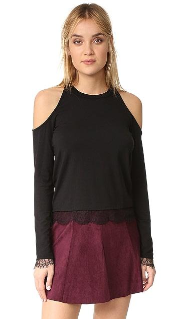 Splendid Lace Knit Cold Shoulder Top