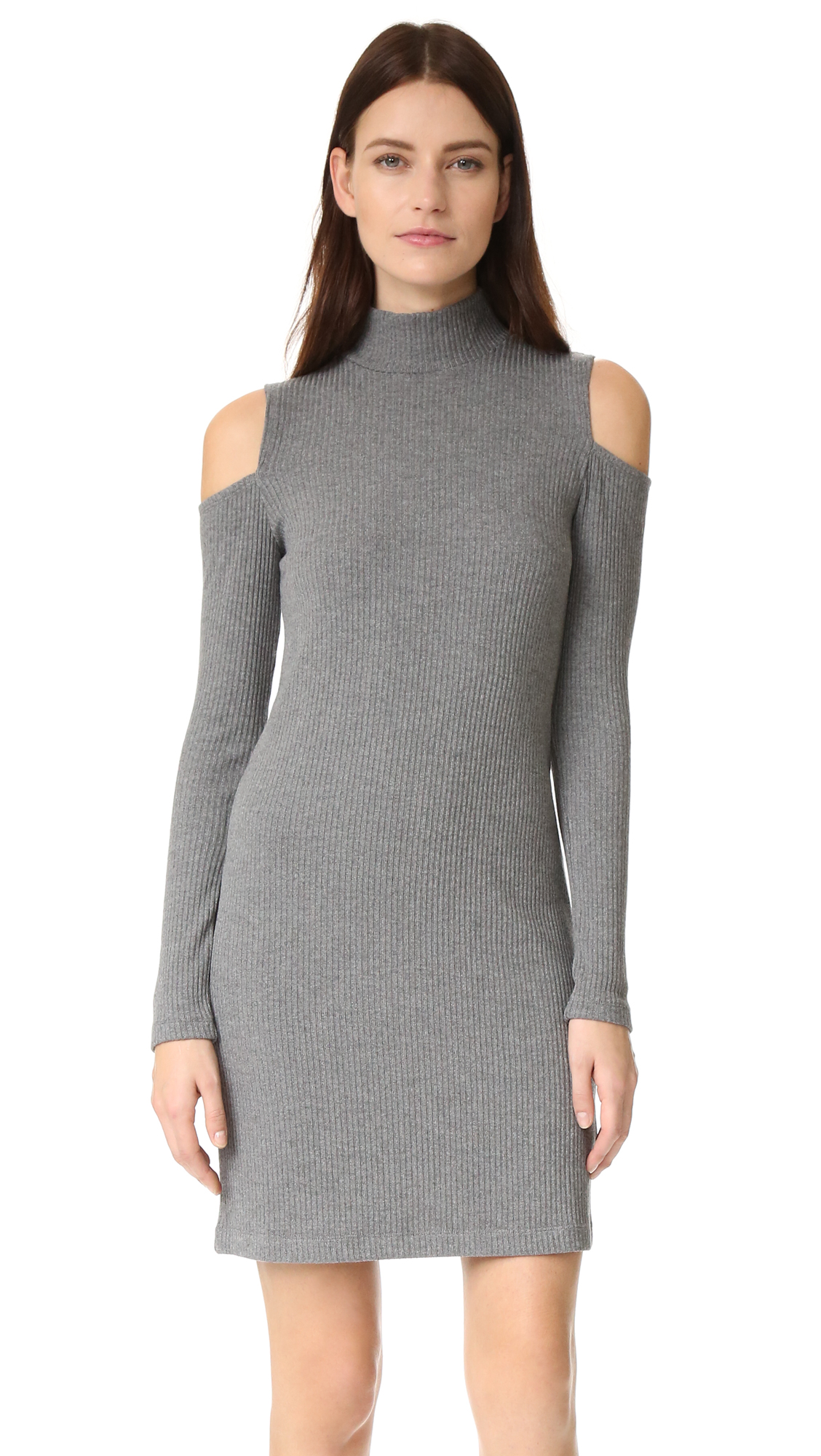 splendid female splendid ribbed knit dress dark heather grey