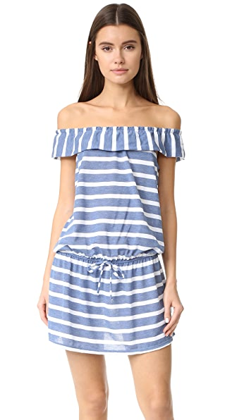 Splendid Off Shoulder Striped Dress - Blue
