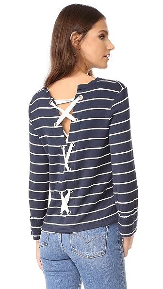 Splendid Dune Stripe Lace Back Sweatshirt