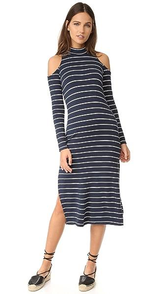Splendid Dune Stripe Cold Shoulder Dress - Navy/White