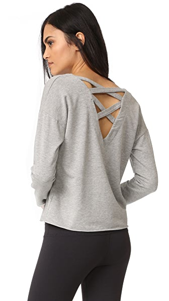 Splendid Varsity Active Lace Back Sweatshirt - Heather Grey