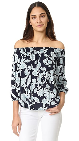 Splendid Etched Floral Off Shoulder Top - Navy