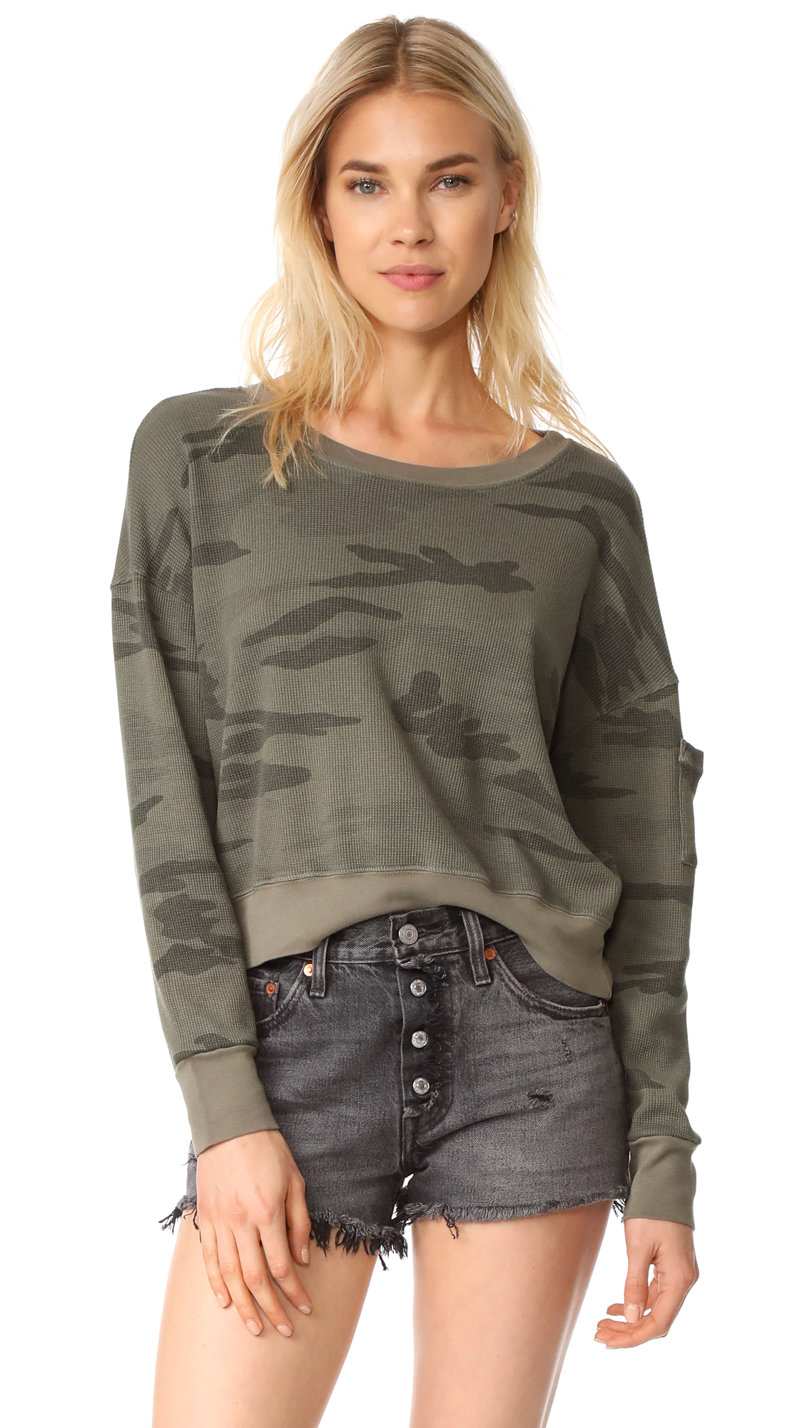 Splendid Thermal Sweater In Olive Branch