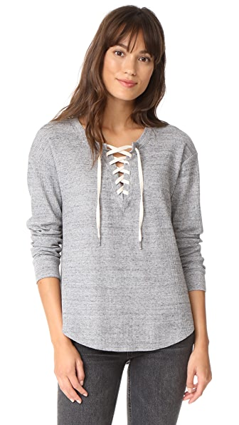 Splendid Thermal Crisscross Tee In Heather Gray