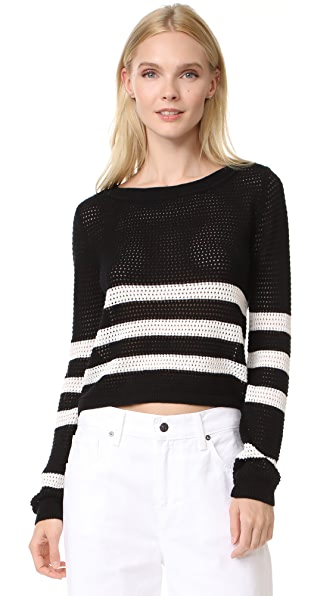 Splendid Halloway Striped Mesh Sweater