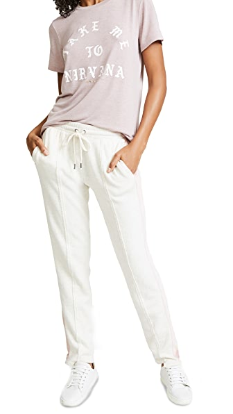 Splendid Colorblock Velour Pants In Pink Beige