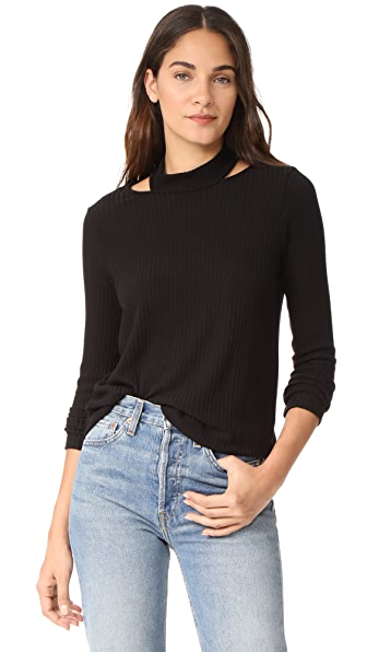 Splendid Melange Sylvie Rib Shirt In Black