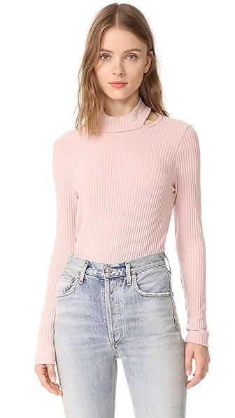 Splendid Sylvie Rib Long Sleeve Shirt In Pink Beige