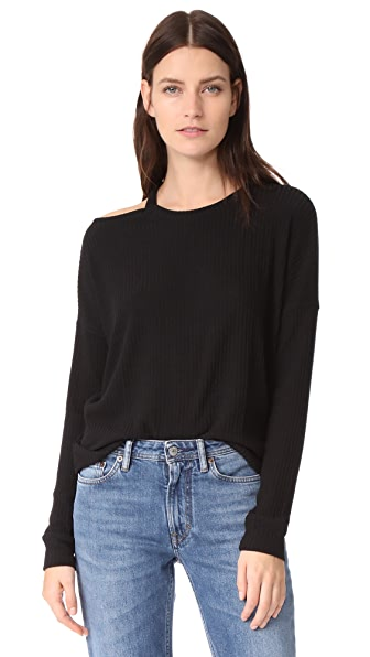 Splendid Sylvie Rib Sweater - Black