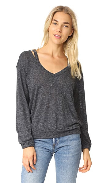 Splendid Ashbourne Knit Sweater - Heather Gray