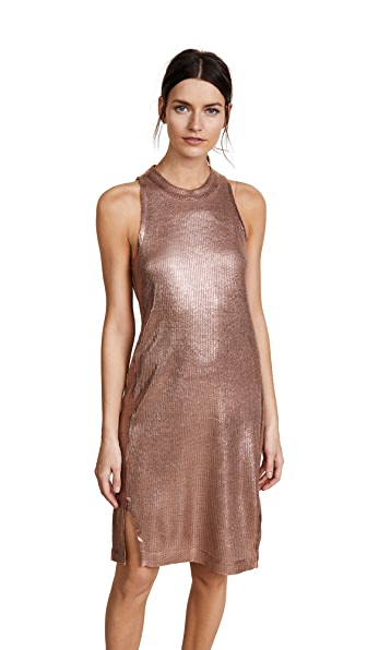 Splendid Astor Metallic Coated Knit Dress In Rosey Gold