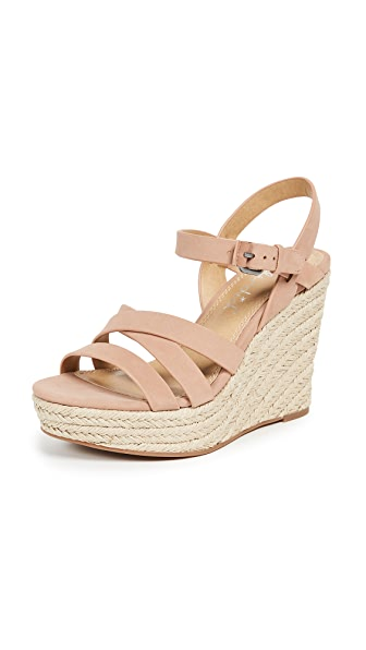 Billie Strappy Wedge Espadrilles in Dark Blush
