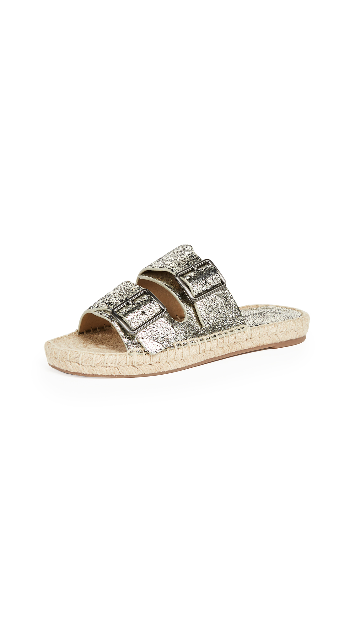 Splendid Blake Double Strap Slides - Nickel