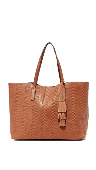 Splendid Key Largo Debossed Chevron Tote - Cognac