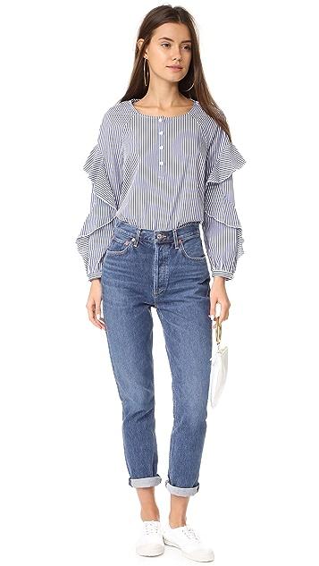 Splendid Ruffled Sleeve Button Down Shirt