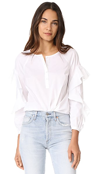 Splendid Ruffled Sleeve Button Down Shirt - White