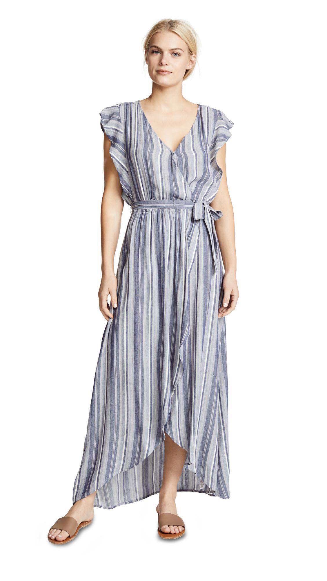 Striped Tulip-Sleeve Chambray Maxi Dress, Multi