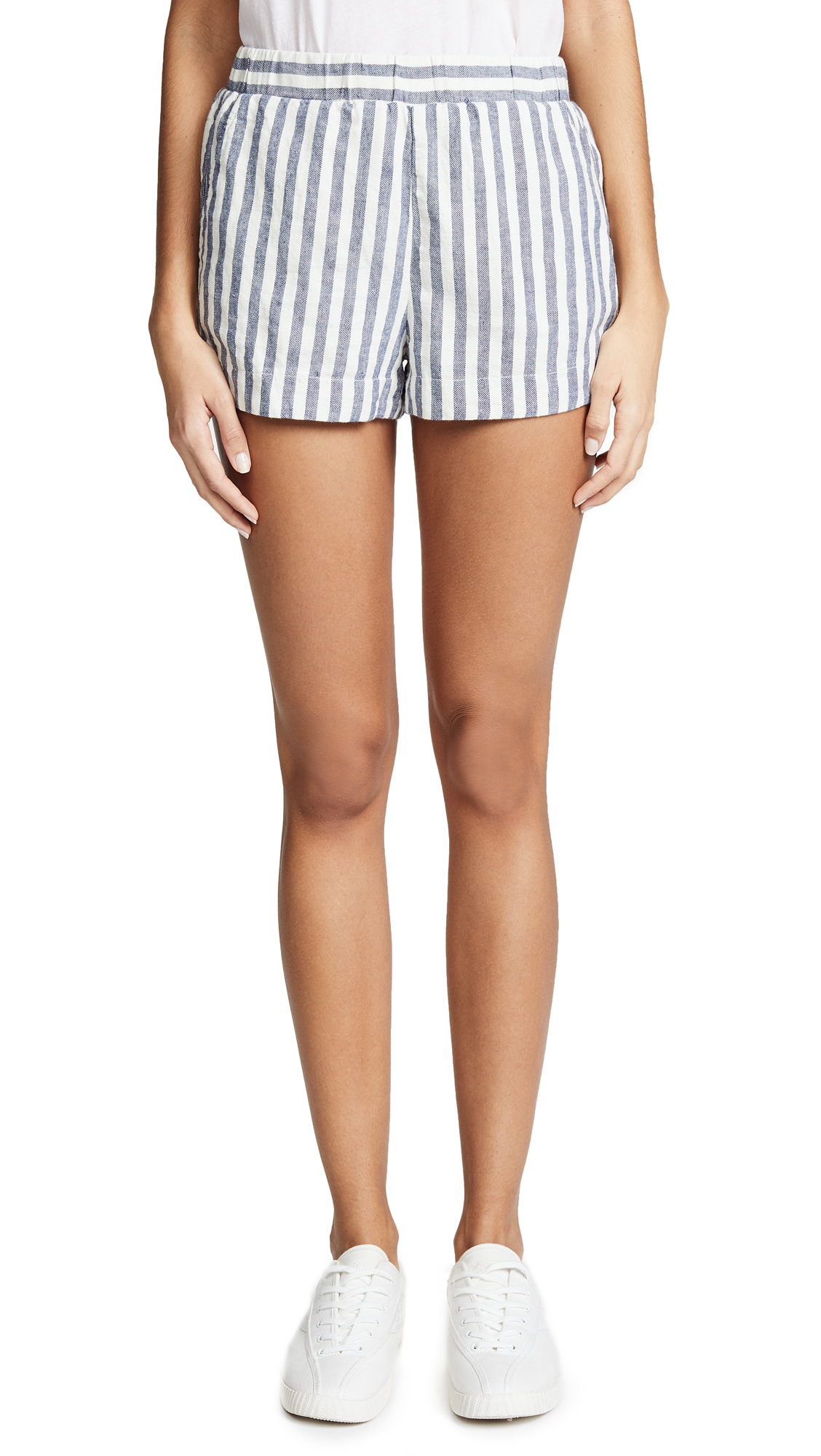 Splendid Linen Blend Stripe Shorts In Off White