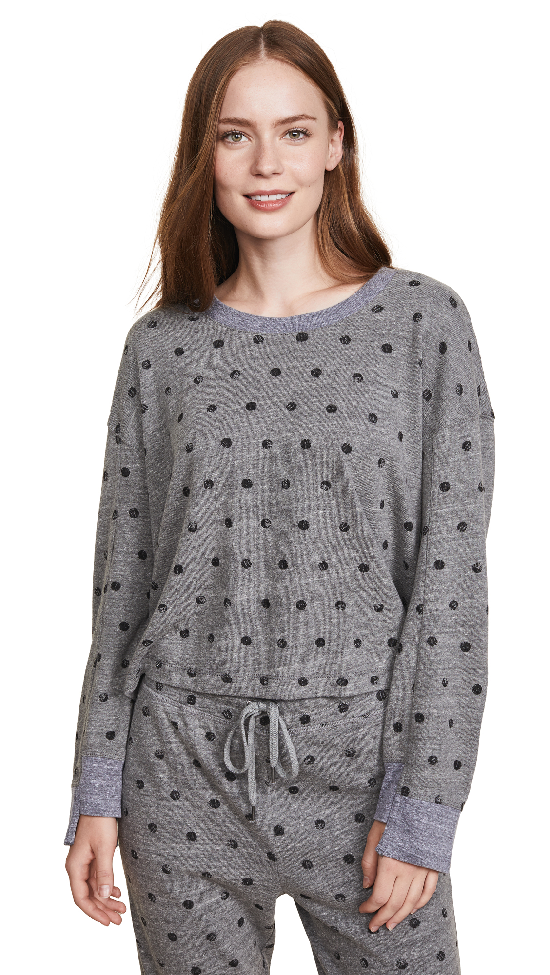 Splendid Paint Dot Sweatshirt In Heather Grey