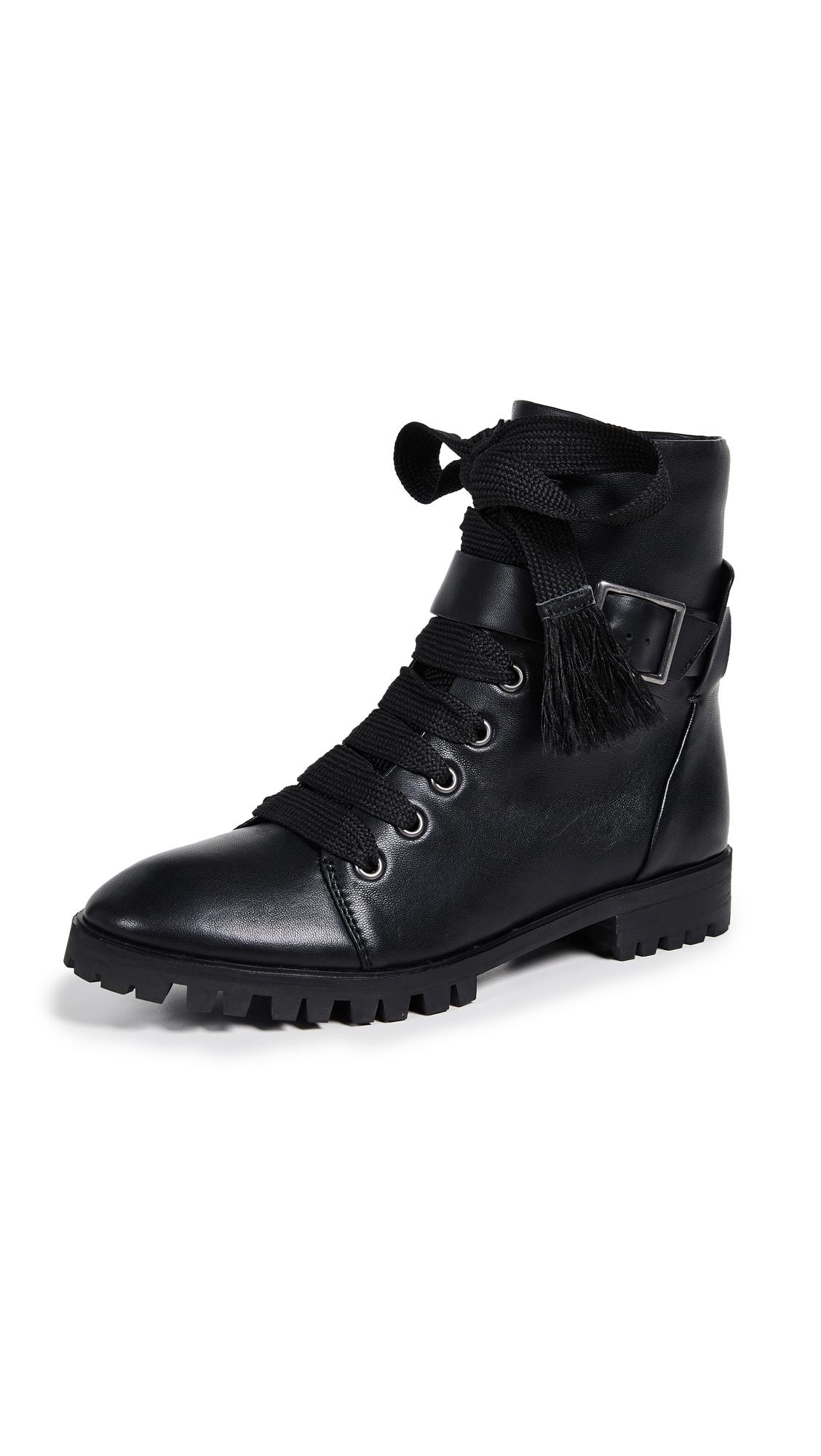 Celine Combat Boots, Black Leather